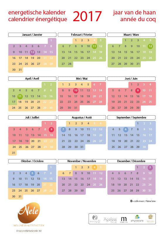 Wellness-Esthetiek Nele Energetische kalender 2017 PHYTO 5 vijf elementen