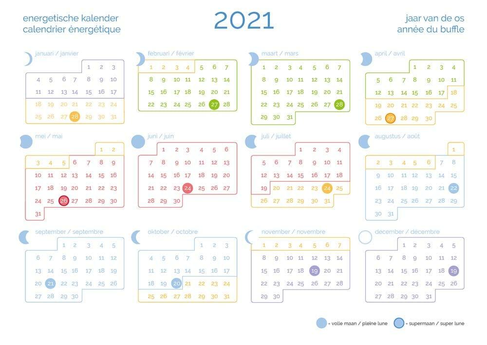 Energetische-Kalender 2021 volgens de Traditionele Chinese Geneeskunde
